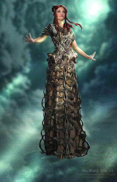 Un diseño virtual del vestuario para Reese Witherspoon para su papel en la nueva película de Disney 'Un pliegue en el tiempo'.