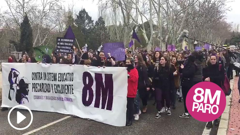 Manifestación de la huelga feminista en el Campus de Somosaguas de la Universidad Complutense de Madrid