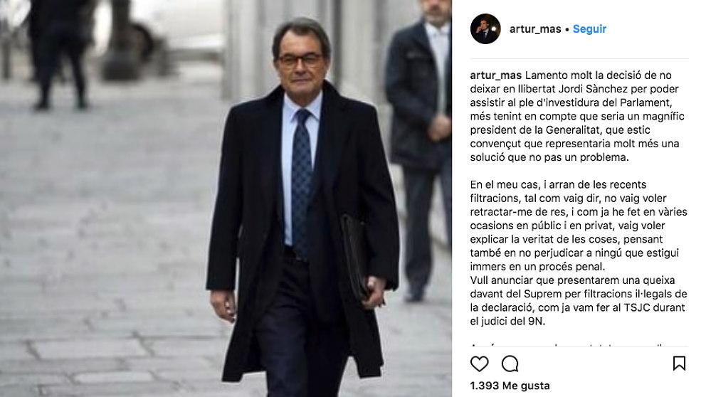 El ex president de la Generalitat Artur Mas y su apunte en instagram.