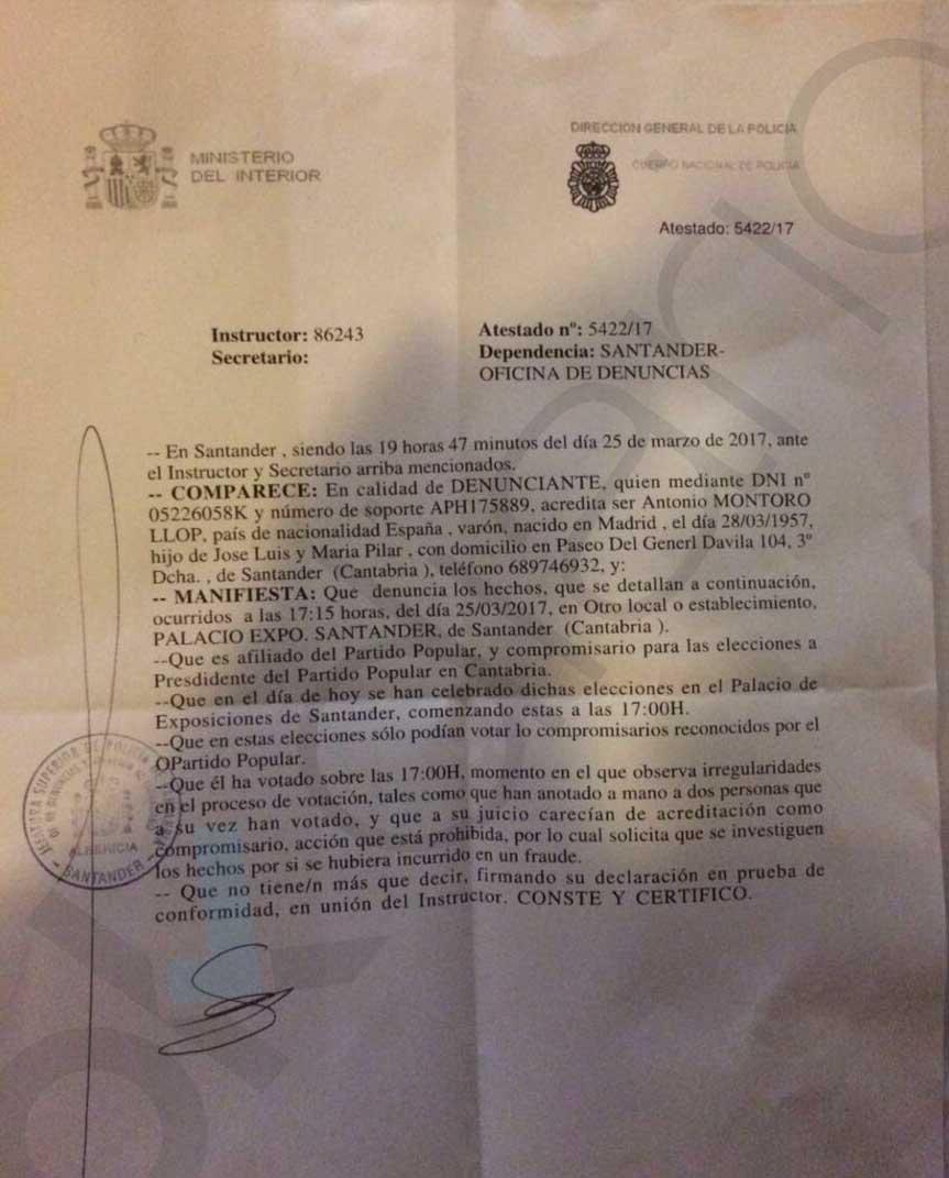 Buruaga también usó compromisarios falsos para amañar el congreso del PP cántabro