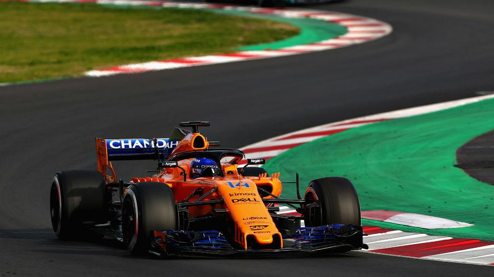 Fernando Alonso durante el último entrenamiento de pretemporada. (Getty)