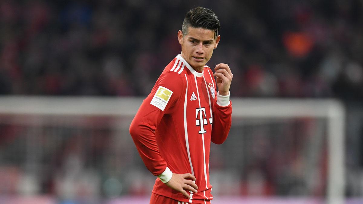 James Rodríguez, durante un partido con el Bayern. (AFP)