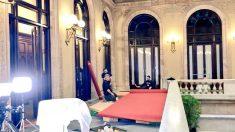 Preparativos en el Parlament ante el pleno convocado para el lunes. Foto: Joan Guirado.