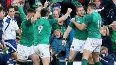 Los jugadores de Irlanda celebran el triunfo. (AFP)