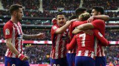 Los jugadores del Atlético de Madrid celebran el gol de Griezmann. (AFP)