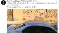 Juan Carlos Girauta denuncia en Twitter un acto vandálico contra su coche.