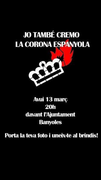 Aquelarre independentista en Banyoles (Gerona): queman fotos del Rey para celebrar la sentencia del TEDH