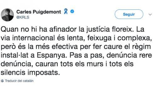Tuit de Carles Puigdemont aprovechando la sentencia del TEDH.