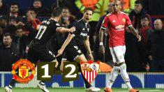 Ben Yedder celebra su gol ante el Manchester United.