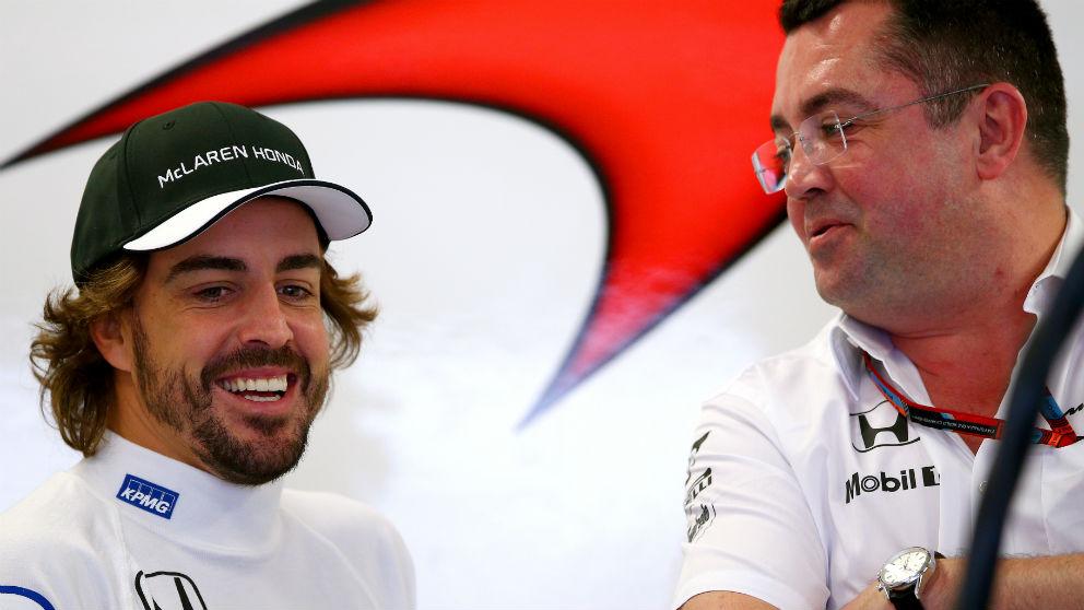 Eric Boullier afirma que la mentalidad de Fernando Alonso ha mejorado este año con la llegada de Renault, si bien confirma también que el piloto español exige más rendimiento del nuevo MCL33. (Getty)