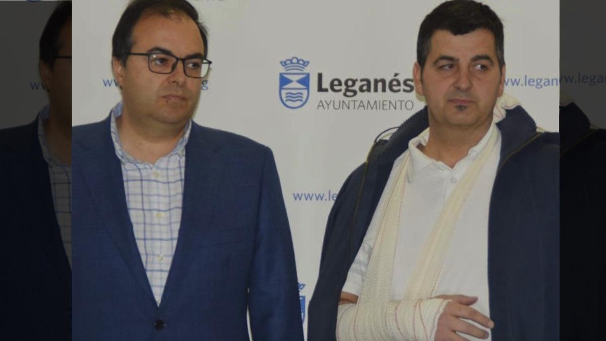 El alcalde de Leganés y el director general Javier Marquez Ortiz.