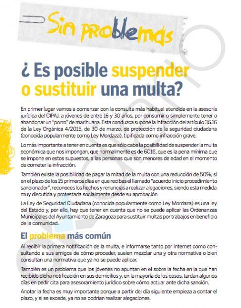 El Ayuntamiento de Zaragoza aconseja a los jóvenes cómo librarse de las multas por llevar droga