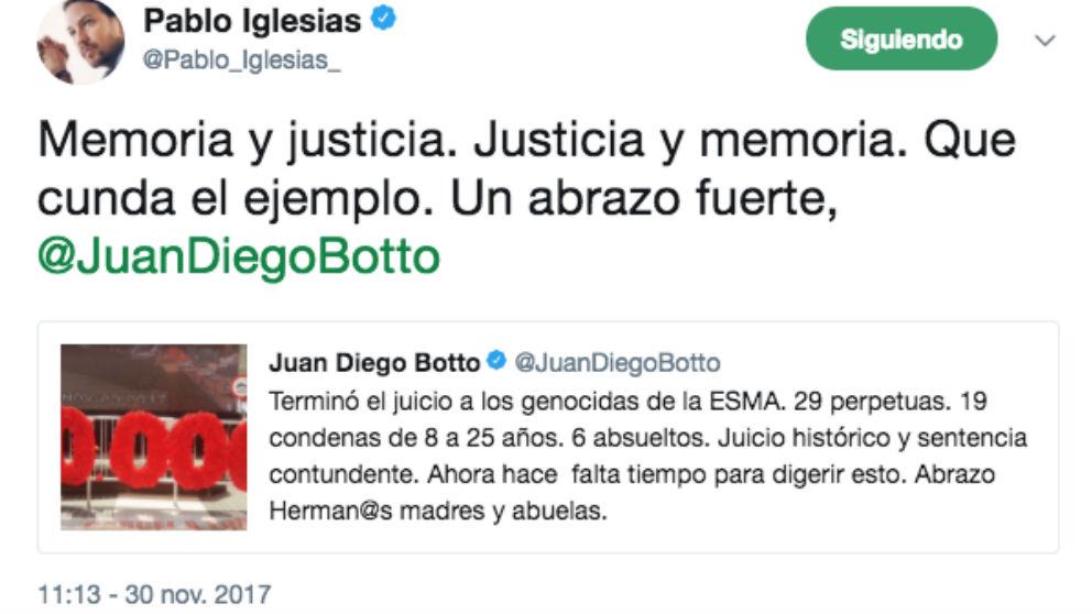 El tuit de Iglesias en el que celebraba la sentencia  que condenaba a cadena perpetua a varios militares de la dictadura argentina