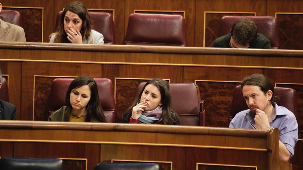 Ione Belarra, Irene Montero y Pablo Iglesias en el Congreso.