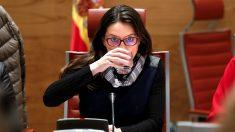 Mónica Oltra, líder de Compromís, durante su comparecencia en la comisión de financiación de partidos del Senado. (EFE)