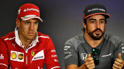 Sebastian Vettel y Fernando Alonso. (Getty)