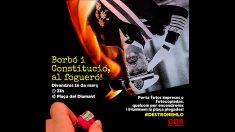 Cartel de la manifestación separatista cuyo objetivo es quemar fotos del Rey Felipe VI