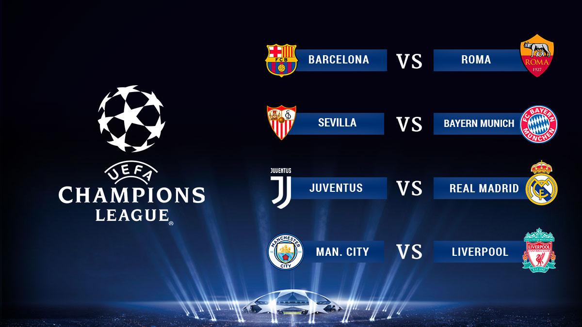 Emparejamientos del sorteo de cuartos de final de la for Cuartos de final champions