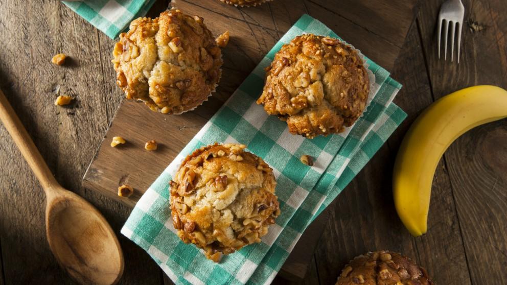 Receta de muffins de plátano y nueces paso a paso
