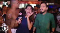 La reportera brasileña se quedó de piedra tras ser acosada.