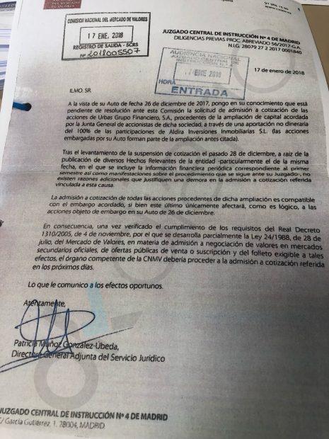 El Juzgado central insta a la CNMV a levantar el veto a las nuevas acciones de Urbas.