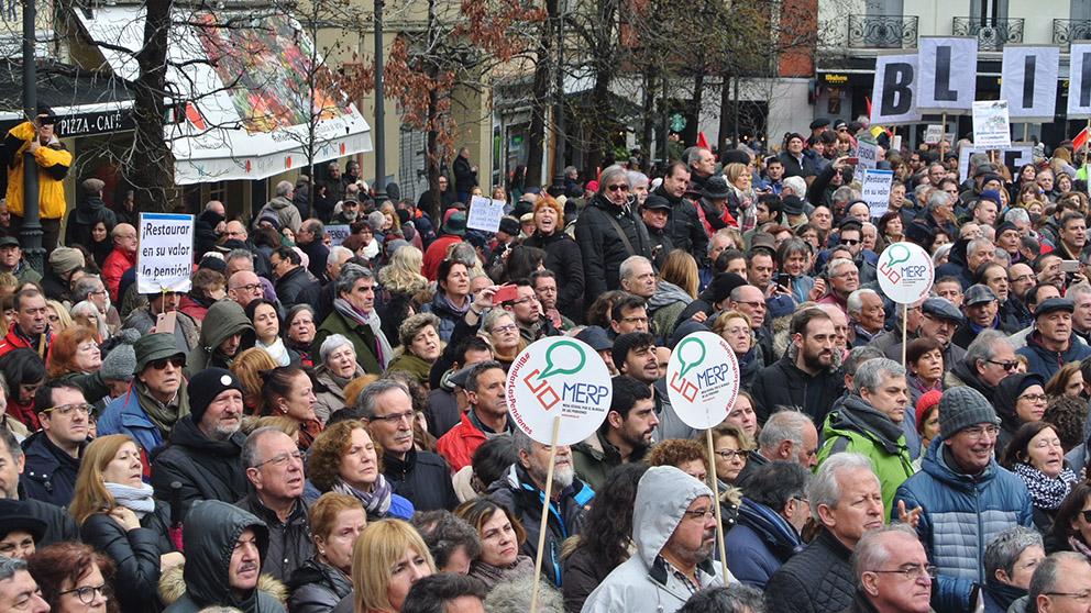 Manifestación sobre las pensiones. Foto: FRANCISCO TOLEDO-pensiones4