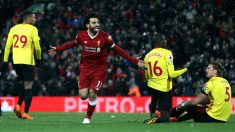 Salah celebra uno de sus goles al Watford. (Getty)