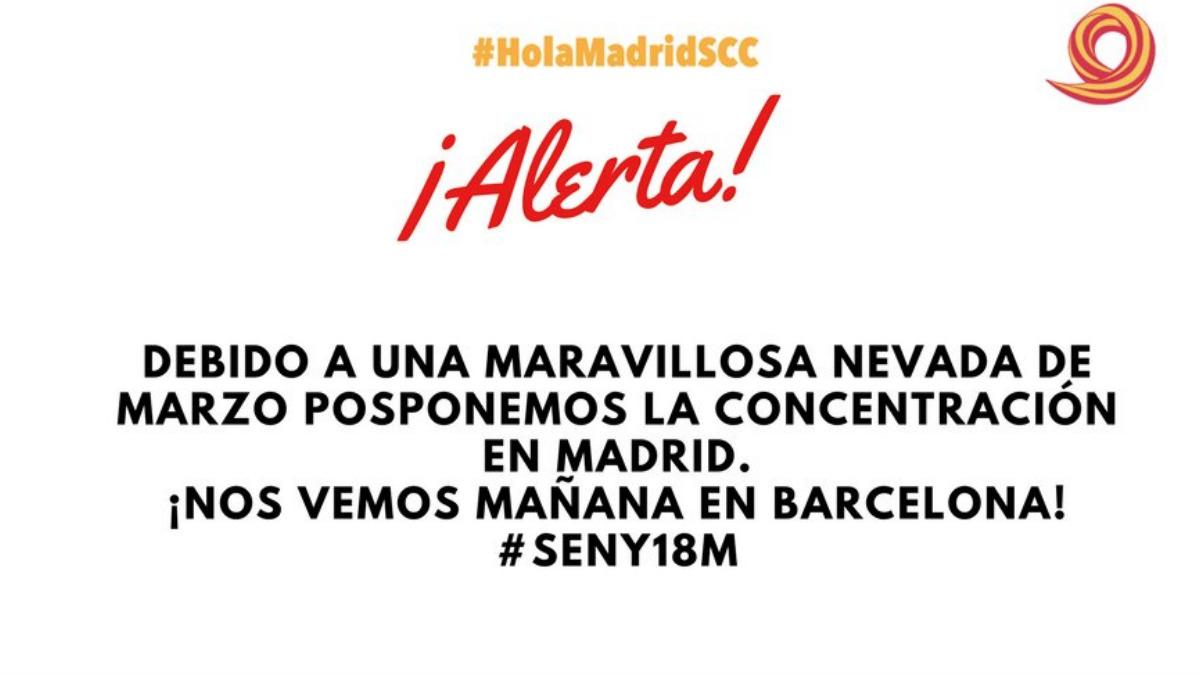 Sociedad Civil Catalana pospone la concentración convocada en Madrid por el mal tiempo.