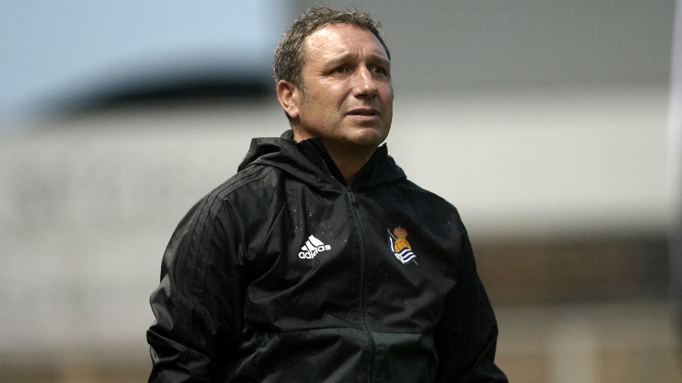 Eusebio Sacristán, durante un partido con la Real Sociedad. (AFP)