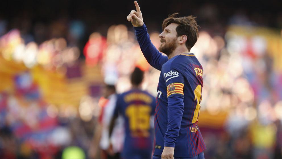 Messi celebra su gol ante el Athletic. (AFP)