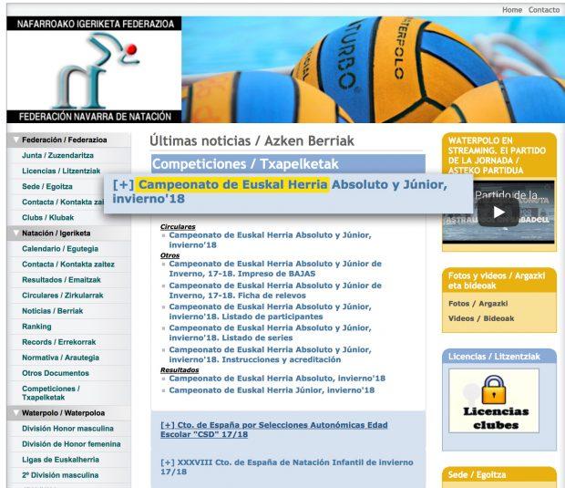 """Web de la Federación Navarra de Natación con el """"Campeonato de Euskal Herría"""""""