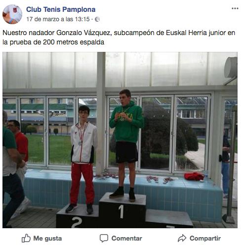 """El Club de Tenis de Pamplona en sus redes sociales y el """"Campeonato de Euskal Herría"""" (Foto: Facebook)"""