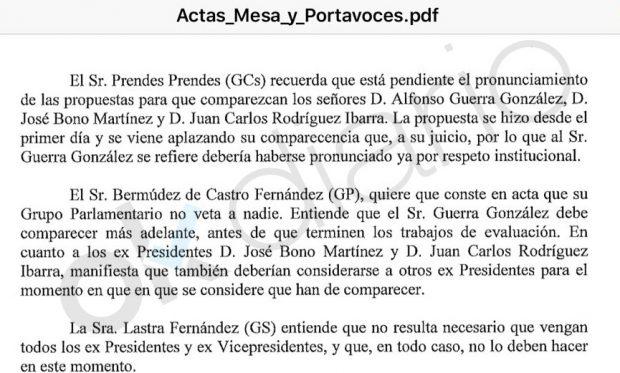 """Comisión territorial: el acta que demuestra que el PSOE vetó a Guerra y Bono porque no eran """"necesarios"""""""