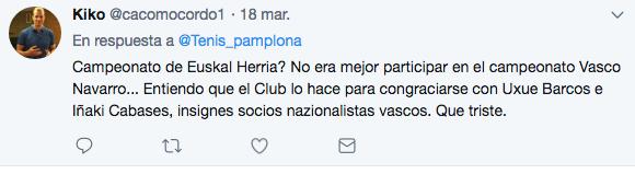 """Tuit crítico contra el club de Pamplona escenario del """"Campeonato de Euskal Herría"""""""