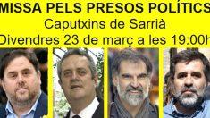 Cartel de la misa en apoyo a los golpistas encarcelados en el convento de los capuchinos de Sarrià (Barcelona)