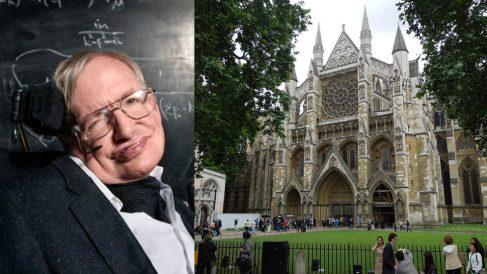 El científico Stephen Hawking y la Abadía de Westminster, en Londres.