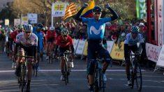 Alejandro Valverde, entrando a meta en la segunda etapa de la Volta a Cataluña. (EFE)