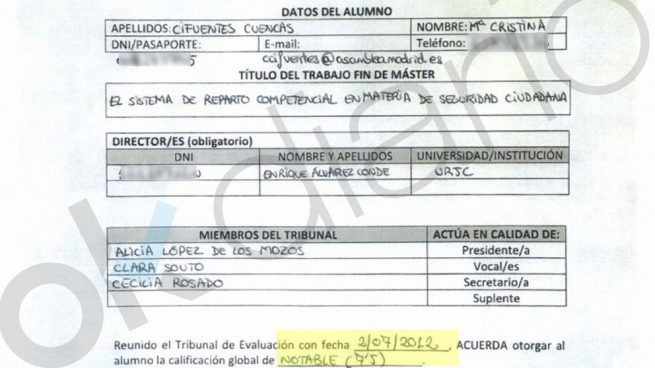 Cifuentes aporta documentación para defender la «legalidad y trasparencia» de su título de máster