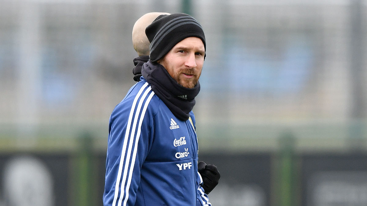 Messi, durante un entrenamiento de Argentina, en las instalaciones del City (AFP).