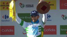 Alejandro Valverde celebrando la victoria en la cuarta etapa de la Volta a Cataluña. (@Movistar_Team)
