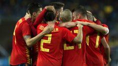 España celebra un gol. (AFP)
