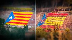 La estelada gigante en una carretera de Barcelona que han convertido los constitucionalistas en una bandera de España (Foto: 'Dolça Catalunya')