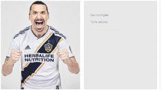 Ibrahimovic y la página que compró para su fichaje. (Twitter)