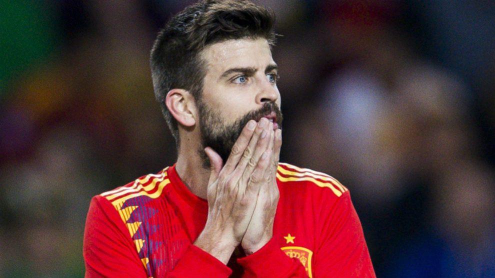 Gerard Piqué, en un partido con la selección española. (Getty)
