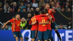 Sergio Ramos celebra un gol de España. (AFP)