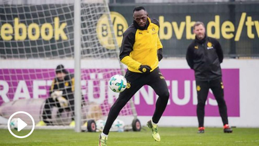 Usain Bolt se entrena con el Borussia Dortmund. (Instagram)