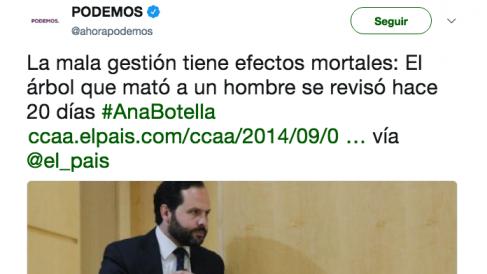 """Podemos culpaba de la caída de los árboles a la """"mala gestión"""" de la alcaldesa Ana Botella."""