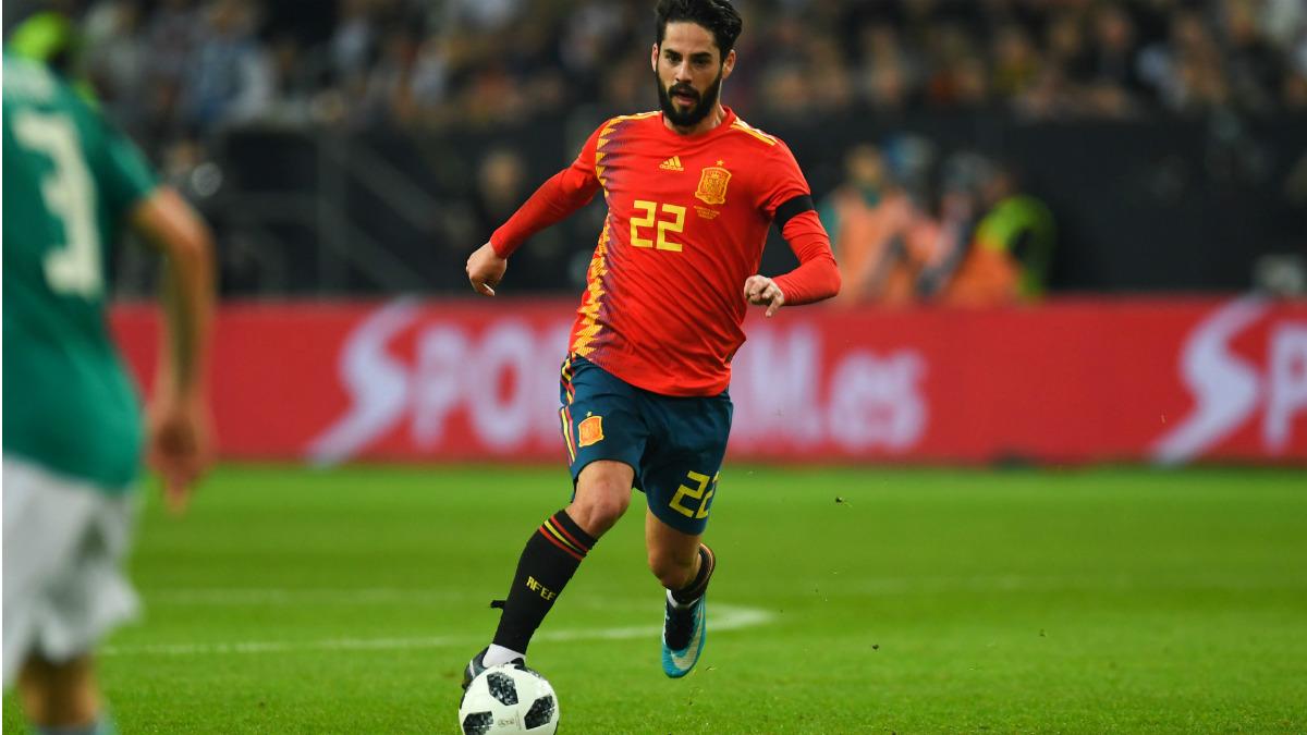 Isco, en un partido con la selección española.
