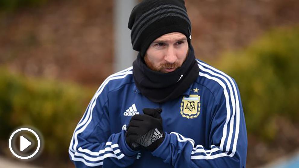Messi durante un entrenamiento con Argentina. (AFP)