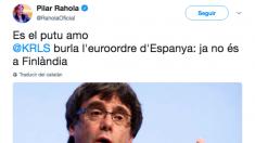 Mensaje publicado este sábado en Twitter por la periodista Pilar Rahola.